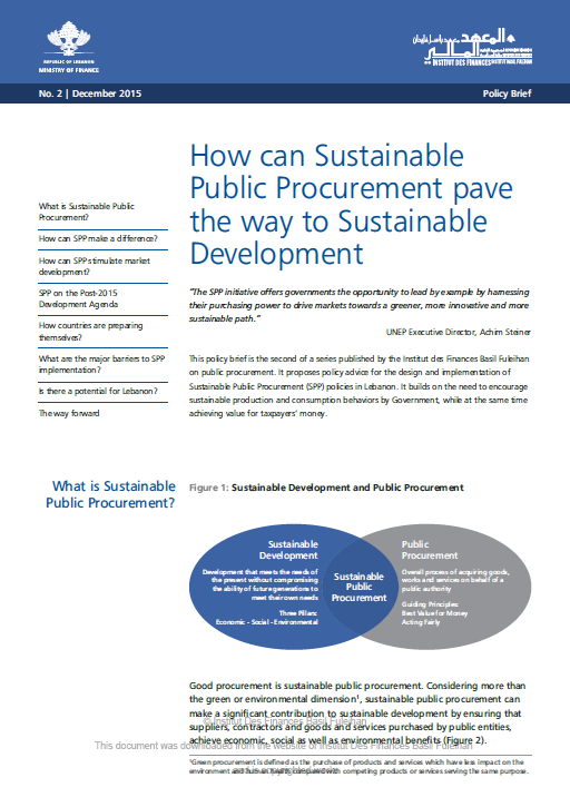 How can Sustainable Public Procurement pave the way to Sustainable Development?