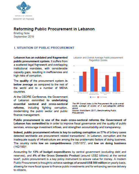Briefing note public procurement reform Lebanon ENGLISH